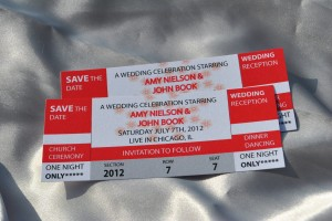 """Red and silver """"concert ticket"""" wedding save the date"""