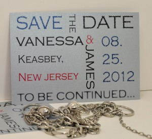 "silver ""prematurely aged"" block save the date card"